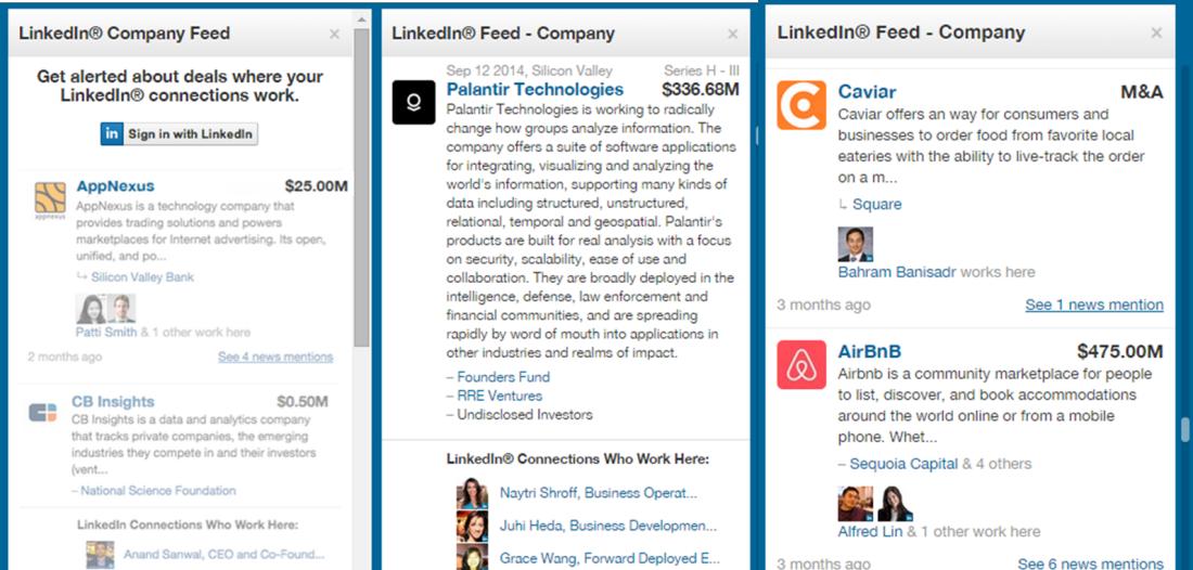 LinkedIn CB Insights integration feeds