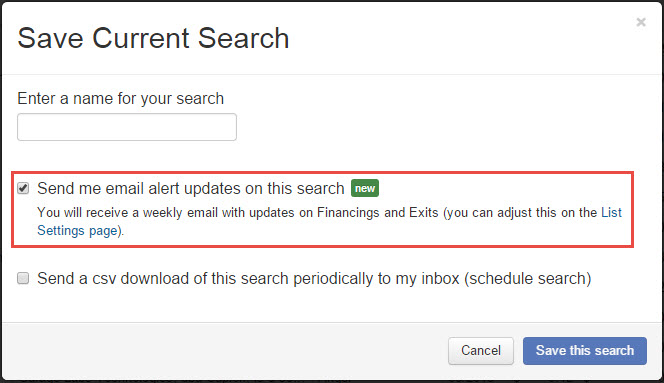 CB Insights Saved Search Email Alerts