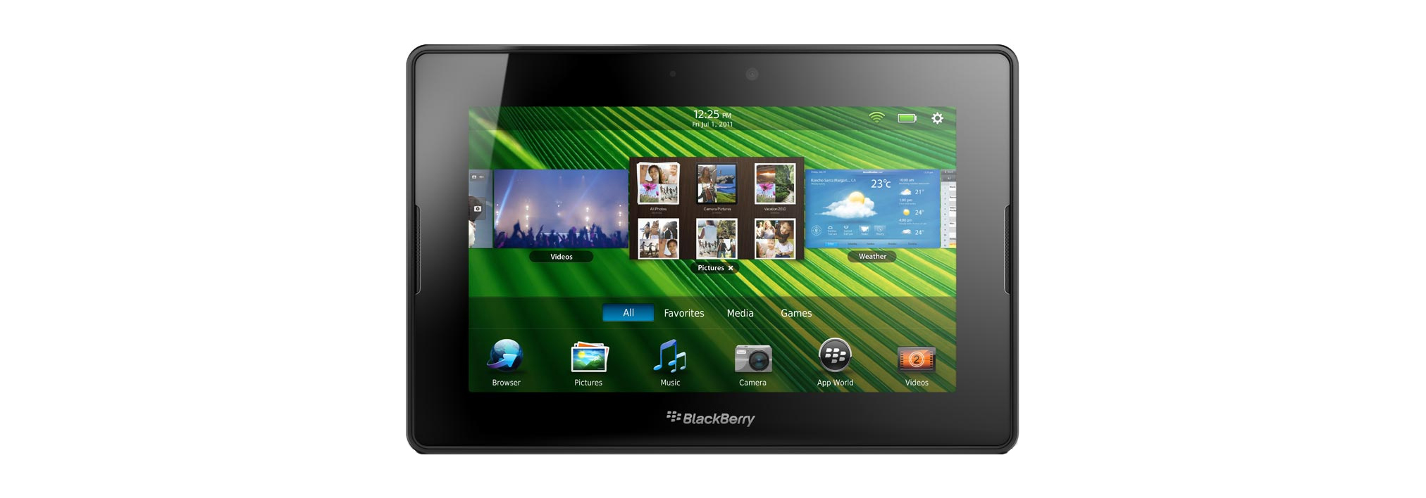 Blackberry Playbook green user interface