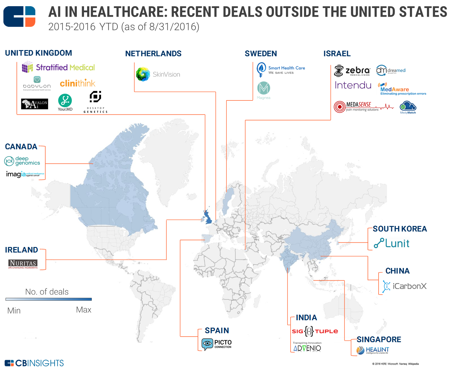 AI In Healthcare Recent Deals Outside The United States - Us map ai