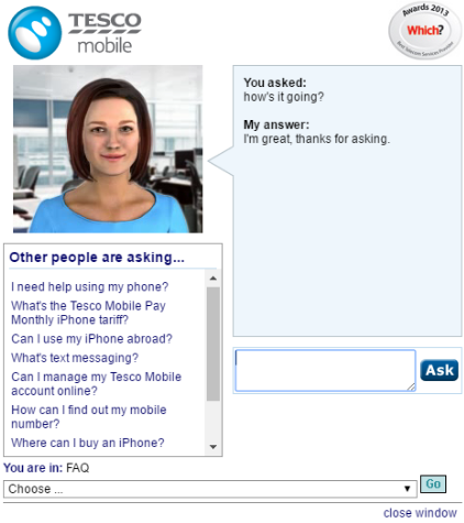 Tesco chatbot image