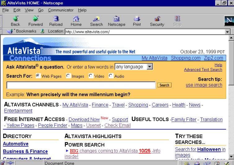 An old screenshot of Altavista.com