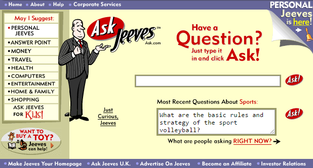 An image of the old Ask Jeeves site.