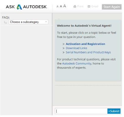Autodesk chatbot conversation
