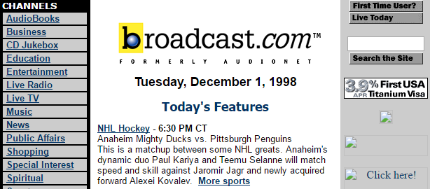 Screenshot of Broadcast.com from 1998