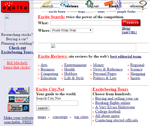 A screenshot of the old Excite.com homepage.