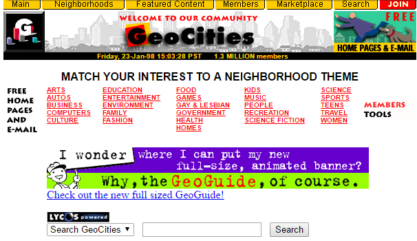 An old screenshot of Geocities