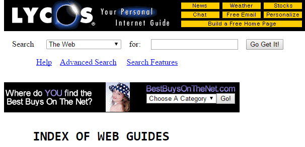 An old screenshot of Lycos.com