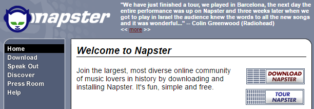 An old screenshot of Napster