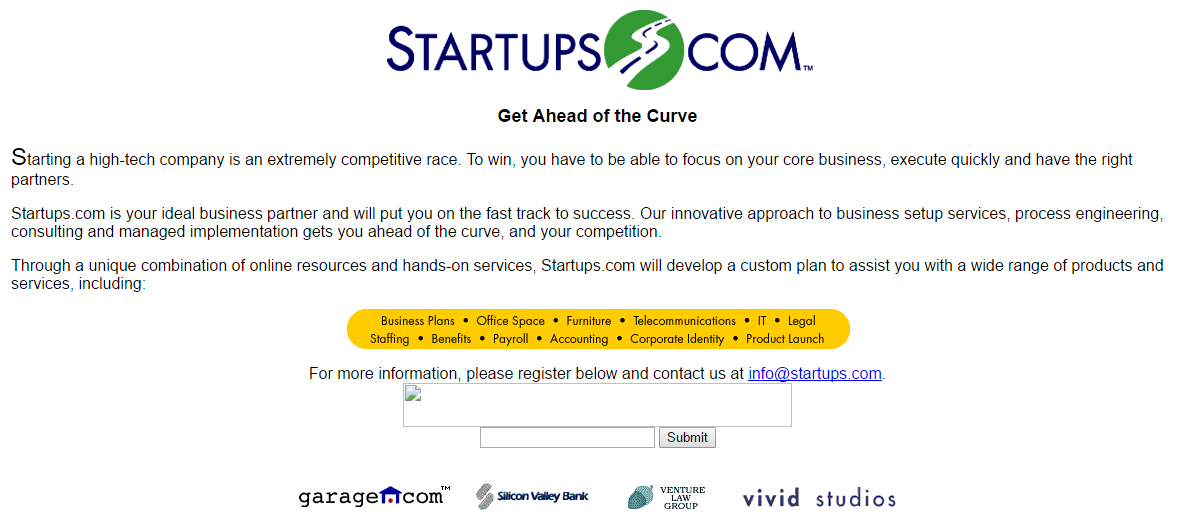 An image of the old Startups.com screenshot