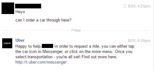 Uber chatbot image