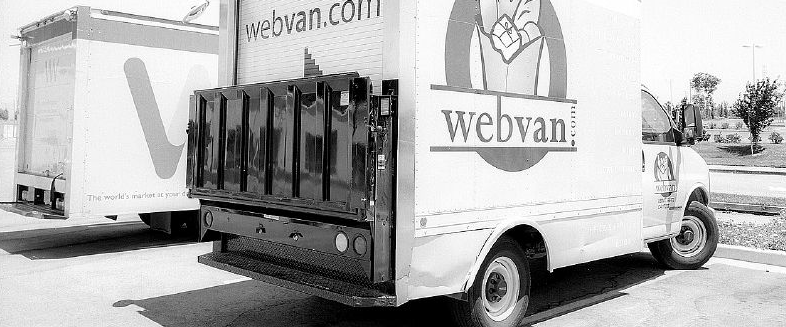 An image of the Webvan delivery vehicles