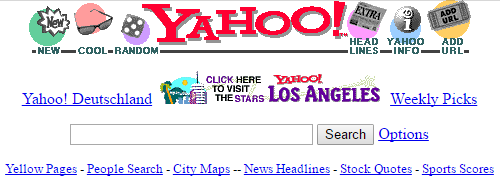 An old screenshot of the Yahoo homepage