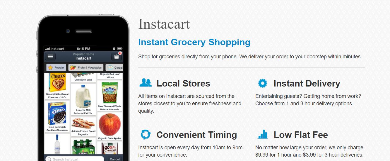 Instacart homepage 2012