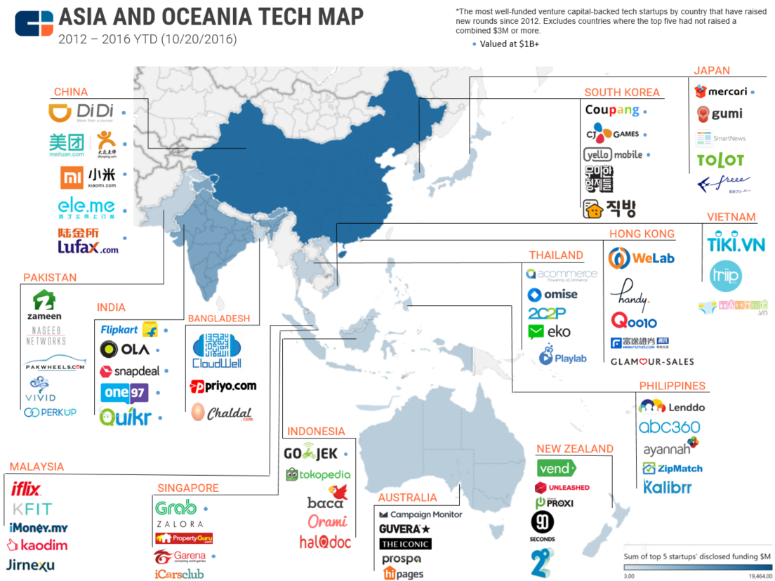 Bangladesh On Map Of Asia.The Most Well Funded Tech Startups In Asia And The Pacific