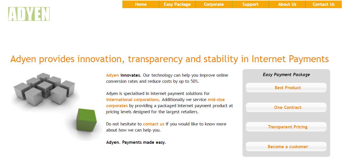 Adyen homepage 2008