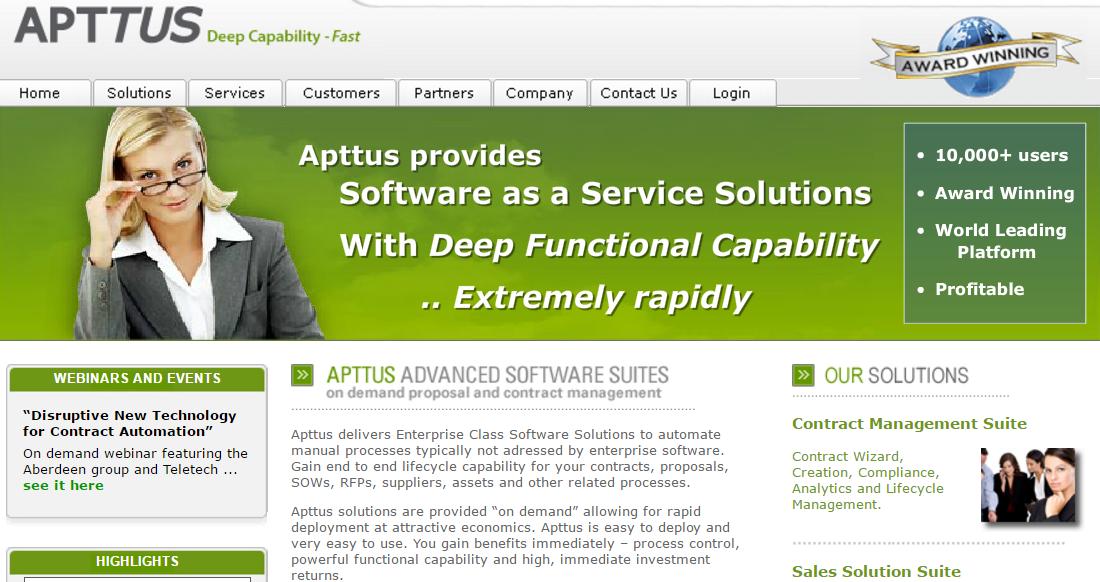 Apptus homepage 2008