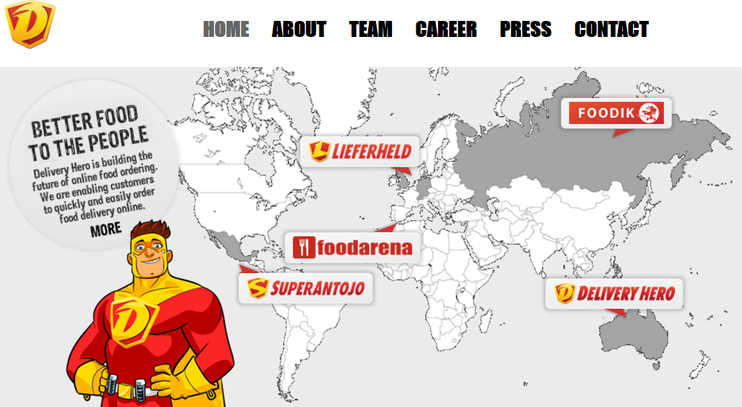 Delivery Hero homepage 2012