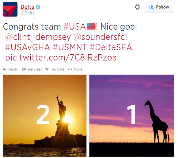 Image of tweet with Statue of Liberty and a giraffe