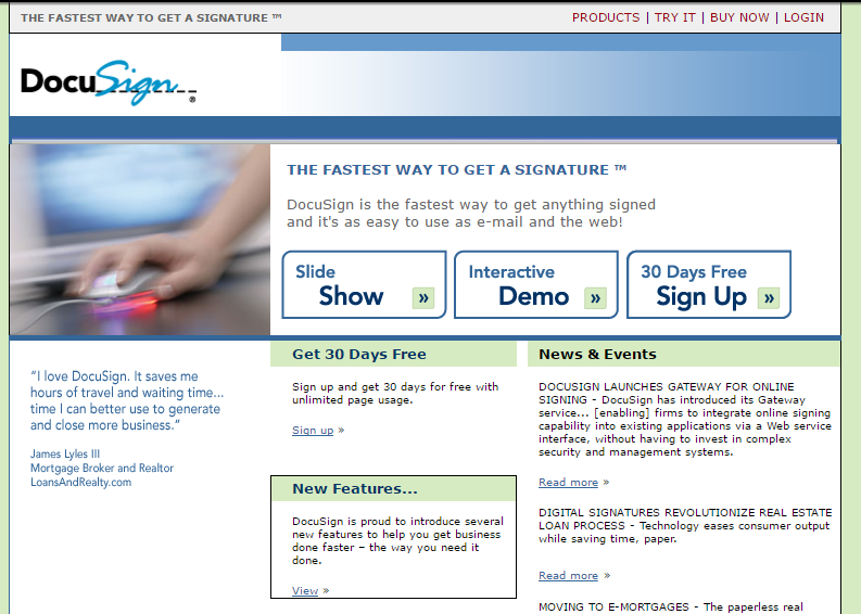 DocuSign homepage 2005