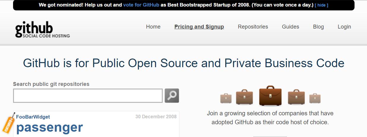 Github 2008 homepage