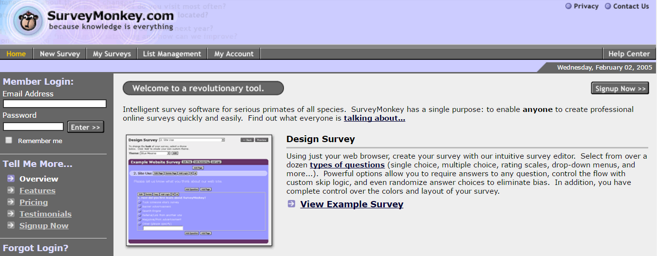 Survey Monkey homepage 2005