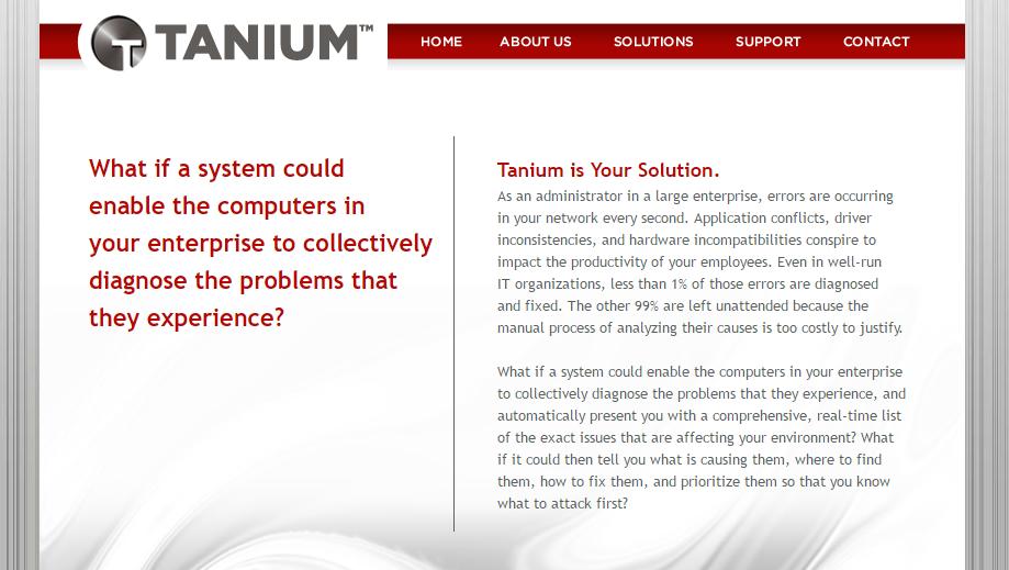 Tanium homepage 2009