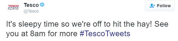 "Tesco tweets ""hit the hay."""