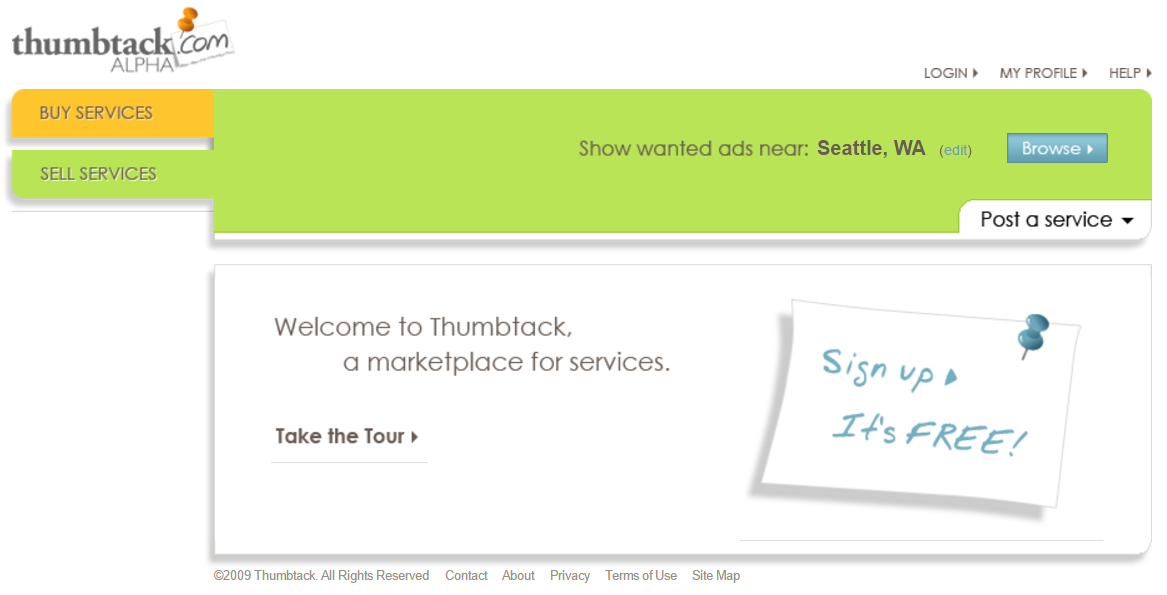 Thumbtack 2009 homepage