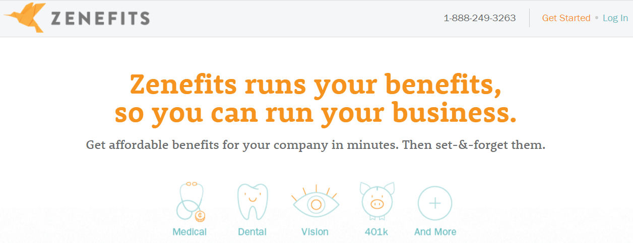 Zenefits homepage 2013