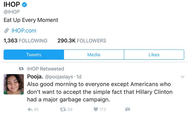 An image of an IHOP retweet of a post critical of Hillary Clinton's presidential campaign.