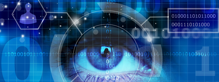 An eye with computer HUD elements around