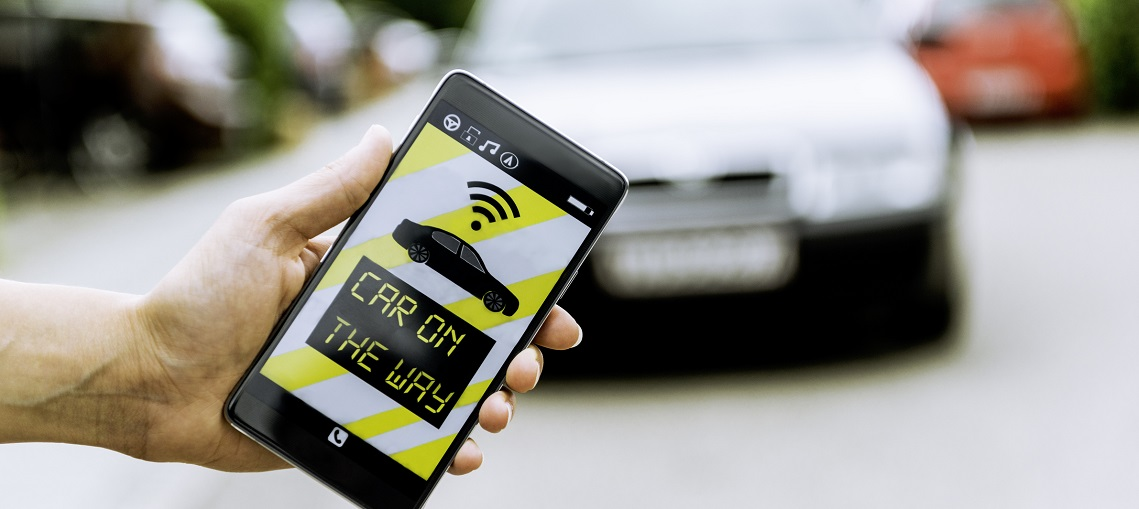 App on smart phone connects to a car or taxi