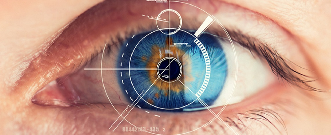 Security Retina Scanner on blue eye