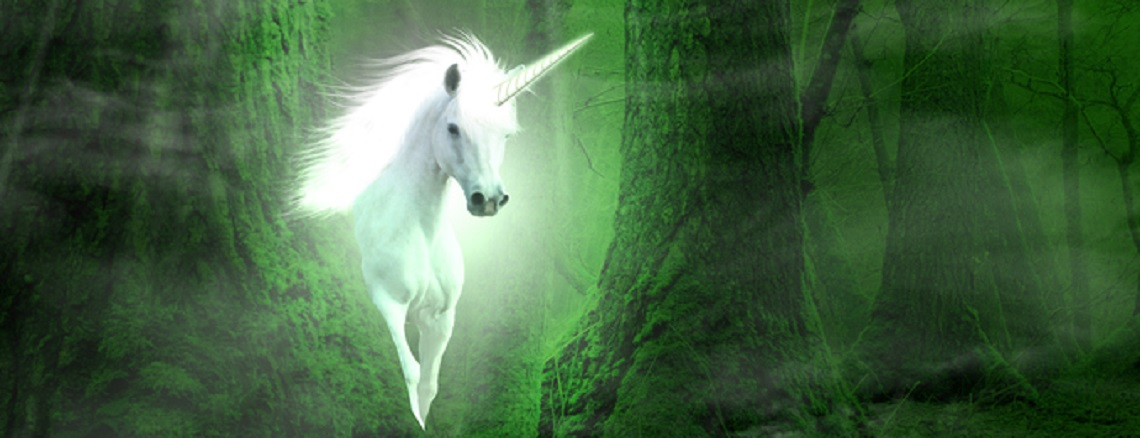 fantasy background with unicorn in the forest
