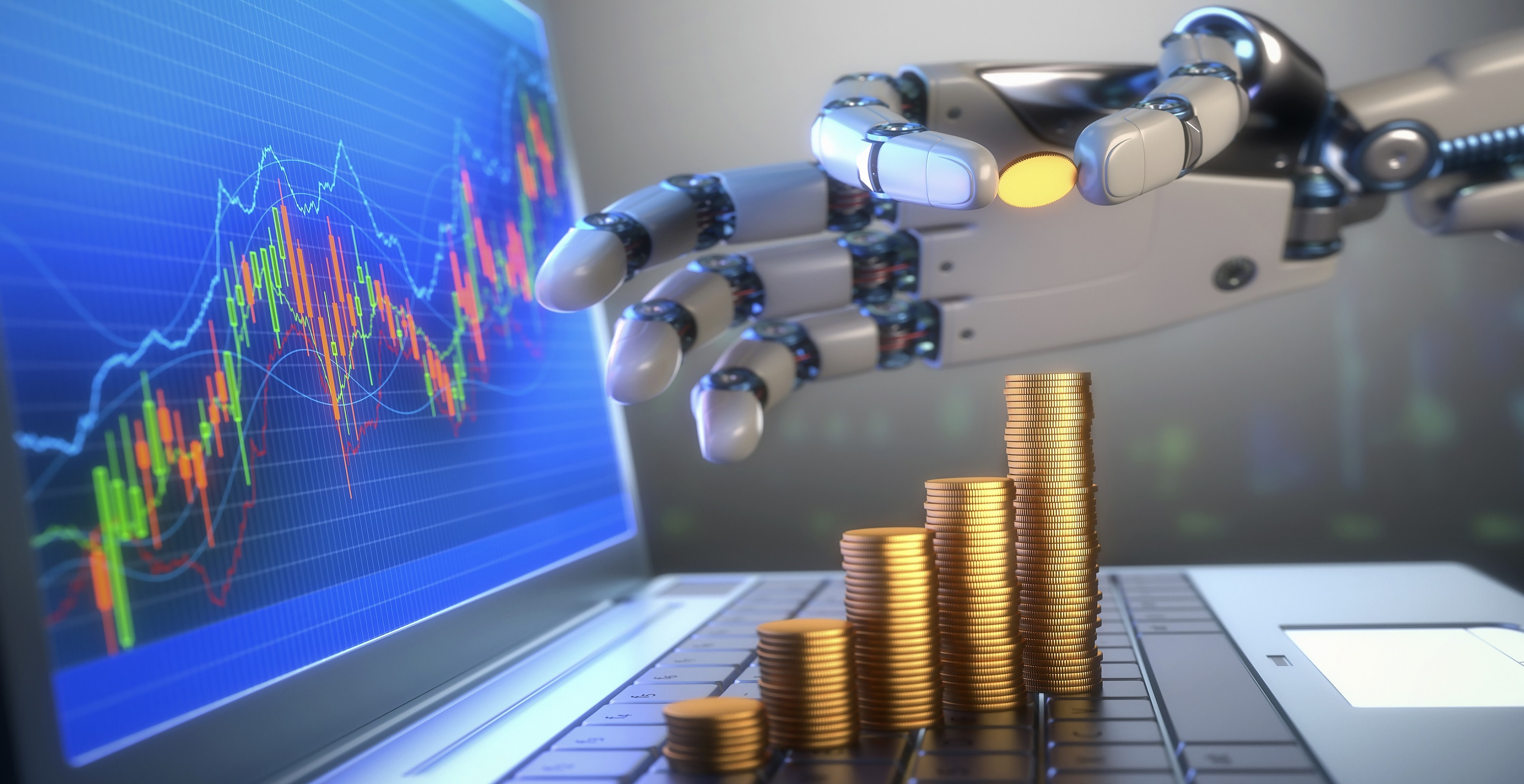 Coins and robotic hand, illustration