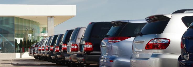 a shot of cars at a car dealership