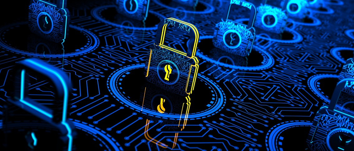 Abstract concept Internet Cyber Security network with lock