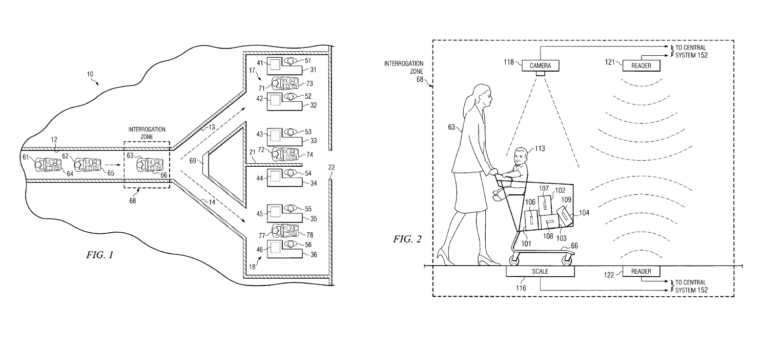 Walmart automated checkout patent images