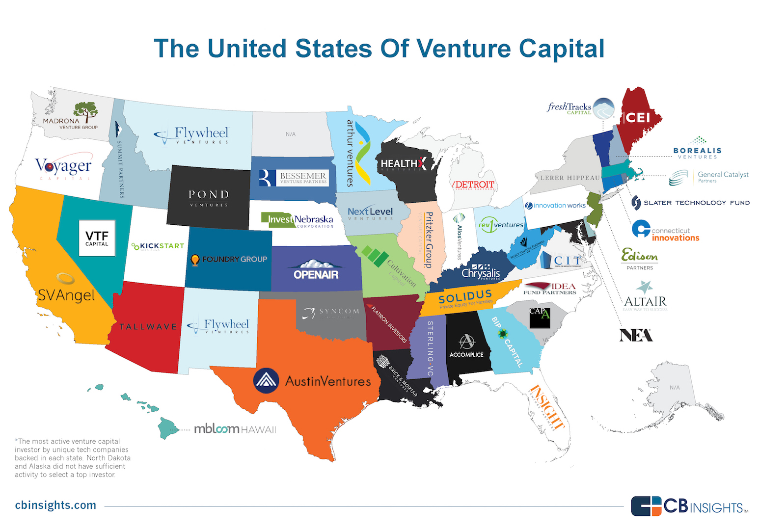 VC Nation The Most Active Tech Venture Capital Firm Into Each US - Syayesof us map