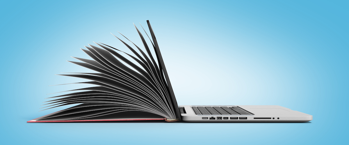 creative E-learning Concept Book and Laptop 3d render